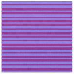[ Thumbnail: Medium Slate Blue and Purple Lined Pattern Fabric ]