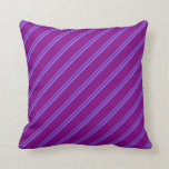 [ Thumbnail: Medium Slate Blue and Purple Striped Pattern Throw Pillow ]
