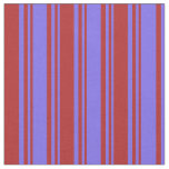 [ Thumbnail: Medium Slate Blue and Red Lined Pattern Fabric ]