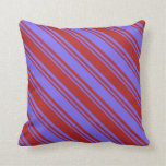 [ Thumbnail: Medium Slate Blue and Red Lined Pattern Pillow ]