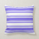 [ Thumbnail: Medium Slate Blue and White Stripes Throw Pillow ]