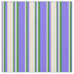 [ Thumbnail: Medium Slate Blue, Bisque & Forest Green Lines Fabric ]