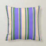 [ Thumbnail: Medium Slate Blue, Bisque & Forest Green Lines Throw Pillow ]