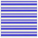[ Thumbnail: Medium Slate Blue, Blue, and Mint Cream Stripes Fabric ]