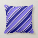 [ Thumbnail: Medium Slate Blue, Blue & Beige Colored Lines Throw Pillow ]
