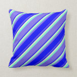[ Thumbnail: Medium Slate Blue, Blue, Light Yellow & Aquamarine Throw Pillow ]