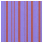 [ Thumbnail: Medium Slate Blue & Brown Lined Pattern Fabric ]
