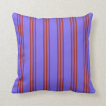 [ Thumbnail: Medium Slate Blue & Brown Lined Pattern Pillow ]