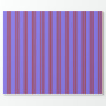 [ Thumbnail: Medium Slate Blue & Brown Lined Pattern Wrapping Paper ]