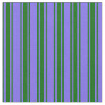 [ Thumbnail: Medium Slate Blue & Dark Green Colored Stripes Fabric ]