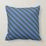 [ Thumbnail: Medium Slate Blue & Dark Green Colored Stripes Throw Pillow ]
