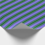 [ Thumbnail: Medium Slate Blue & Dark Green Colored Stripes Wrapping Paper ]