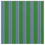 [ Thumbnail: Medium Slate Blue & Dark Green Lined Pattern Fabric ]