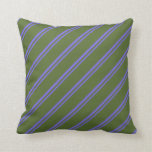 [ Thumbnail: Medium Slate Blue & Dark Olive Green Lines Pillow ]