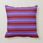 [ Thumbnail: Medium Slate Blue & Dark Red Stripes Throw Pillow ]