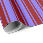 [ Thumbnail: Medium Slate Blue & Dark Red Stripes Wrapping Paper ]
