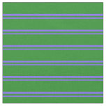 [ Thumbnail: Medium Slate Blue & Forest Green Colored Stripes Fabric ]