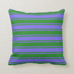 [ Thumbnail: Medium Slate Blue & Forest Green Pattern Pillow ]