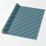 [ Thumbnail: Medium Slate Blue & Forest Green Pattern Wrapping Paper ]