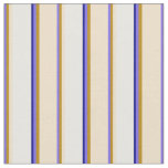 [ Thumbnail: Medium Slate Blue, Goldenrod, Tan, White & Blue Fabric ]