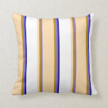 [ Thumbnail: Medium Slate Blue, Goldenrod, Tan, White & Blue Throw Pillow ]