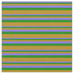 [ Thumbnail: Medium Slate Blue, Green, and Dark Goldenrod Fabric ]