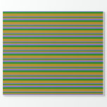 [ Thumbnail: Medium Slate Blue, Green, and Dark Goldenrod Wrapping Paper ]