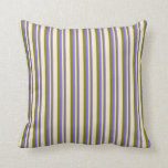 [ Thumbnail: Medium Slate Blue, Green & Beige Pattern Pillow ]