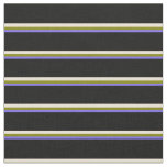 [ Thumbnail: Medium Slate Blue, Green, Bisque, and Black Lines Fabric ]