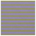 [ Thumbnail: Medium Slate Blue & Green Colored Stripes Fabric ]