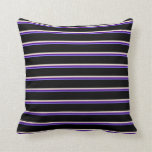 [ Thumbnail: Medium Slate Blue, Indigo, Beige & Black Stripes Throw Pillow ]