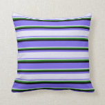 [ Thumbnail: Medium Slate Blue, Lavender, Forest Green & Black Throw Pillow ]