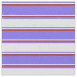 [ Thumbnail: Medium Slate Blue, Lavender & Red Colored Pattern Fabric ]