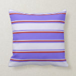 [ Thumbnail: Medium Slate Blue, Lavender & Red Colored Pattern Throw Pillow ]