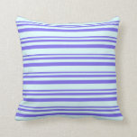 [ Thumbnail: Medium Slate Blue & Light Cyan Colored Stripes Throw Pillow ]