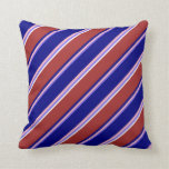 [ Thumbnail: Medium Slate Blue, Light Pink, Blue, Brown & White Throw Pillow ]