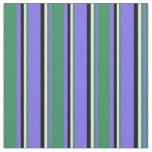[ Thumbnail: Medium Slate Blue, Sea Green, Light Yellow & Black Fabric ]