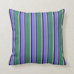 [ Thumbnail: Medium Slate Blue, Sea Green, Light Yellow & Black Throw Pillow ]