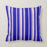 [ Thumbnail: Medium Slate Blue, Tan, Blue, and Dark Blue Lines Throw Pillow ]