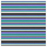 [ Thumbnail: Medium Slate Blue, Teal, White, and Black Lines Fabric ]