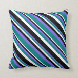 [ Thumbnail: Medium Slate Blue, Teal, White, and Black Lines Throw Pillow ]