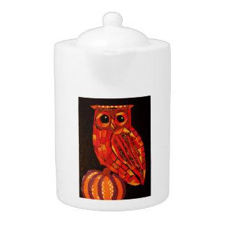 Medium Teapot with Autumn Owl