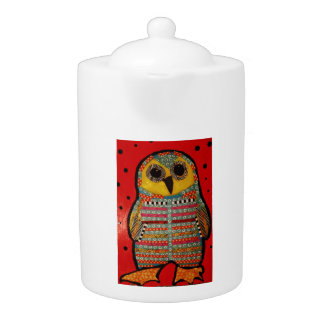 Medium Teapot with Bright Owl