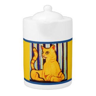 Medium Teapot with Yellow Cat