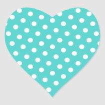 Medium Turquoise and White Polka Dots Heart Sticker