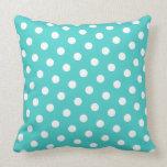 Medium Turquoise and White Polka Dots Throw Pillows