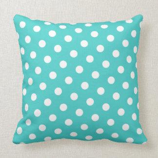 Medium Turquoise and White Polka Dots Throw Pillow