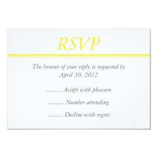 Medium Yellow RSVP, Response and Reply Card