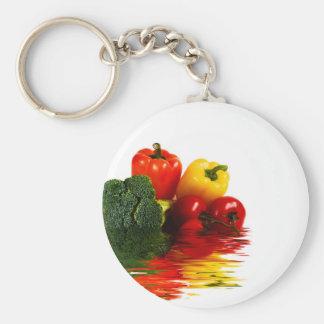 Medley of vegetables over white keychain