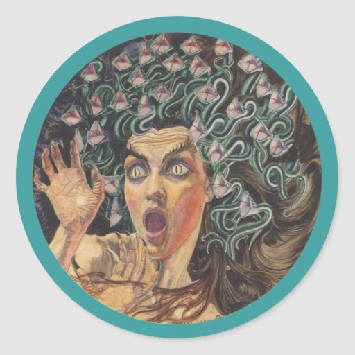 Medusa 1895 etiqueta redonda